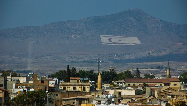 Flag of the self-declared Turkish Republic of Northern Cyprus in the hills above Cyprus' capital Nicosia. - Sputnik International