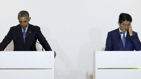 President Barack Obama and Prime Minister Shinzo Abe at a press conference in Japan on May 25, 2016 - Sputnik International