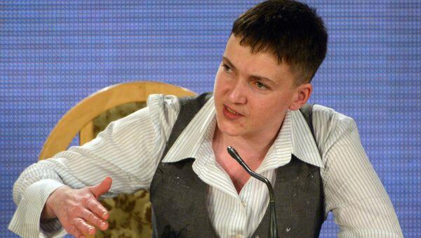 Ukrainian army pilot Nadezhda Savchenko at a news conference in Kiev - Sputnik International