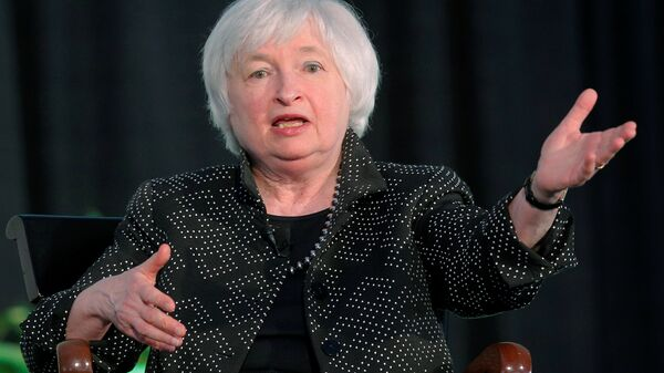 Federal Reserve Chair Janet Yellen speaks at the Radcliffe Institute for Advanced Studies at Harvard University in Cambridge, Massachusetts, U.S. May 27, 2016 - Sputnik International