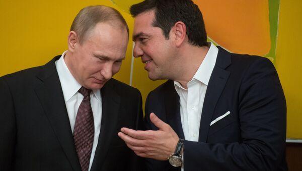 May 27, 2016. Russian President Vladimir Putin and Greek Prime Minister Alexis Tsipras following Russian-Greek talks in Athens. - Sputnik International