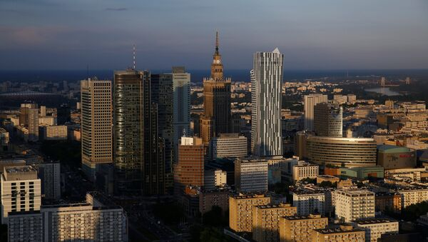 A view of the Palace of Culture and Science is pictured from the newly-opened Warsaw Spire skyscraper in Warsaw, Poland - Sputnik International