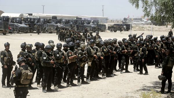 Iraq's elite counter-terrorism forces gather ahead of an operation to re-take the Islamic State-held City of Fallujah, outside Fallujah, Iraq, Sunday, May 29, 2016. - Sputnik International