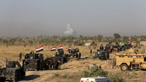 Smoke rises as Iraqi military forces prepare for an offensive into Fallujah to retake the city from Islamic State militants in Iraq, Monday, May 30, 2016 - Sputnik International