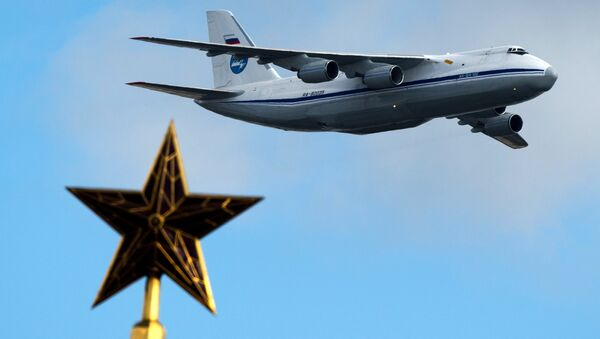 An-124 aircraft during a rehearsal for the Victory Parade's air show in Moscow - Sputnik International