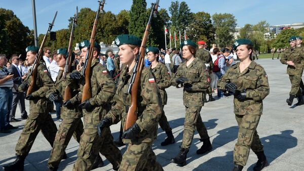 Polish cadets attend a parade in the Polish capital Warsaw to mark the 76th anniversary of the Soviet Union's invasion of Poland during World War II in Warsaw on September 17, 2015 - Sputnik International