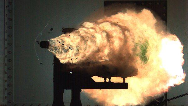 A photograph taken from a high-speed video camera during a  railgun firing at the Naval Surface Warfare Center on January 31, 2008 - Sputnik International