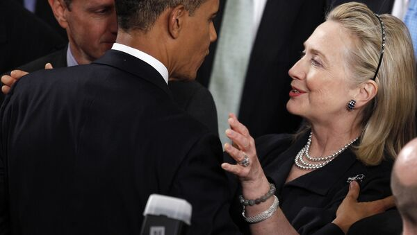 Former Secretary of State Hillary Rodham Clinton greets President Barack Obama after he delivered his State of the Union address on Capitol Hill in Washington. - Sputnik International
