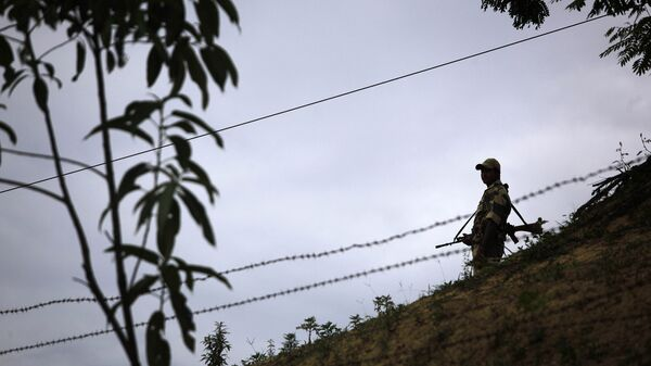 An Indian Border Security Force (BSF) soldier stands guard at the border outpost at Lathitilla near the India-Bangladesh border in Karimganj district of Assam, India. (File) - Sputnik International