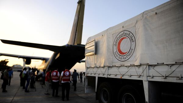 Humanitarian aid supplies are unloaded from a Czech military airplane into a Syrian Arab Red Crescent truck, after it landed in Damascus airport, Syria June 5, 2016 - Sputnik International