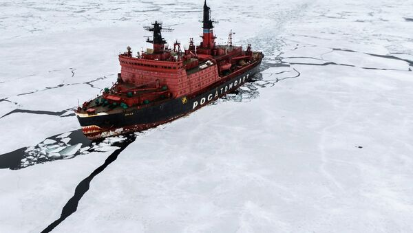 The atomic icebreaker Yamal during researches carried out in the Kara Sea as part of the world's largest Arctic expedition in the recent 20 years, Kara-Winter 2015 - Sputnik International