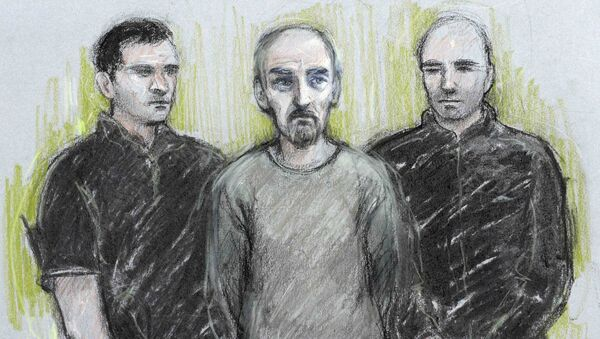 A court artist sketch by Elizabeth Cook shows Thomas Mair (C) appearing at Westminster Magistrates' Court in London, Britain June 18, 2016. - Sputnik International