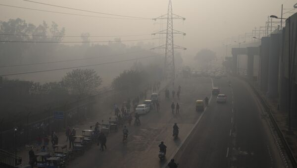 Vehicles ply on a smog enveloped morning during a two-week experiment to reduce the number of cars to fight pollution in New Delhi, India. - Sputnik International