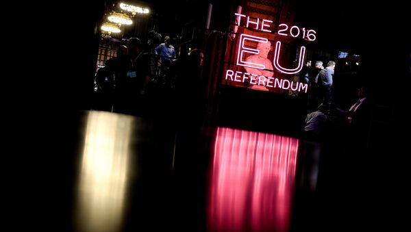 A bust in the Manchester Town Hall during the counting of votes of Britain's referendum on whether to leave the European Union - Sputnik International