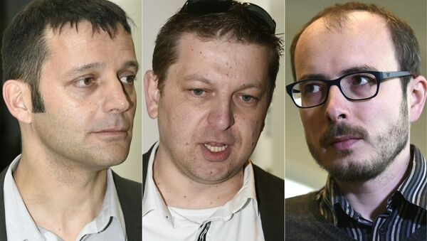 (L to R) Edouard Perrin, Raphael Halet and Antoine Deltour - Sputnik International