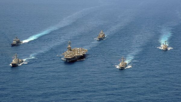 Ships from Carrier Strike Group 8 are in formation for a photo exercise in the Atlantic Ocean - Sputnik International