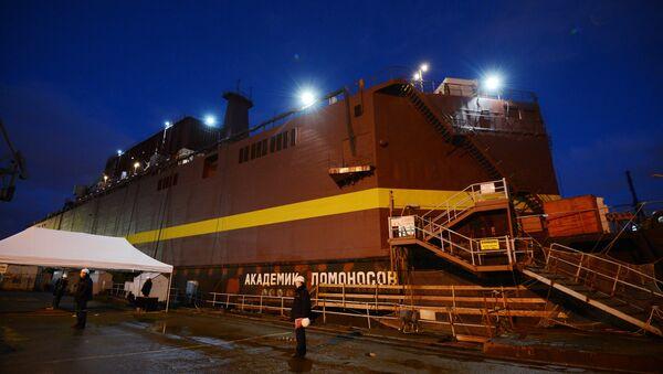 The Academician Lomonosov floating power unit seen in the Baltiysky Zavod shipyard, St.Petersburg. (File) - Sputnik International