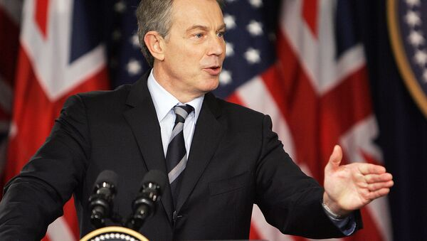 Former British Prime Minister Tony Blair speaks during a joint press conference with US President George W. Bush, 07 December 2006, in the Eisenhower Executive Office Building in Washington, DC. - Sputnik International