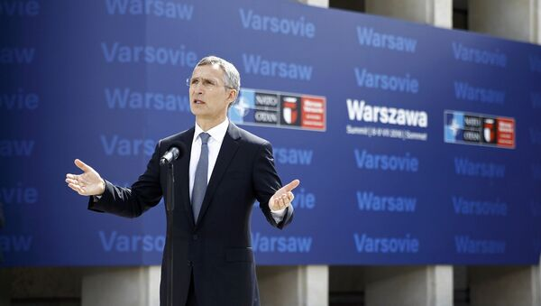 NATO Secretary-General Jens Stoltenberg speaks to the media outside PGE National Stadium, the venue of the NATO Summit, in Warsaw, Poland July 8, 2016. - Sputnik International