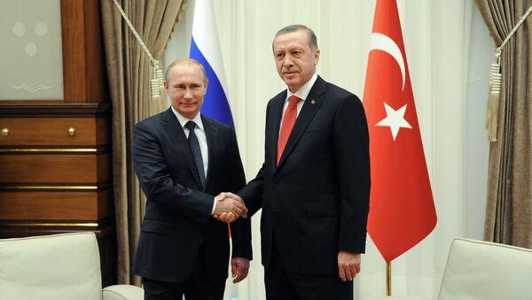 Russian President Vladimir Putin, left, and his Turkish counterpart Recep Tayyip Erdogan shake hands (File) - Sputnik International