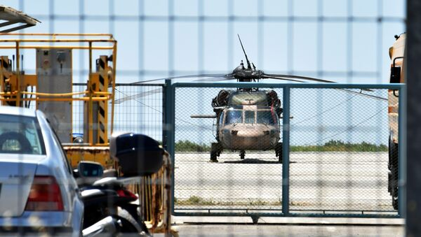 A Turkish military helicopter lands in the northern Greek city of Alexandroupolis with eight men on board who have requested political asylum after the attempted coup in Turkey, July 16, 2016. - Sputnik International