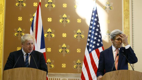 Britain's Foreign Secretary Boris Johnson speaks during a press conference with U.S. Secretary of State John Kerry - Sputnik International