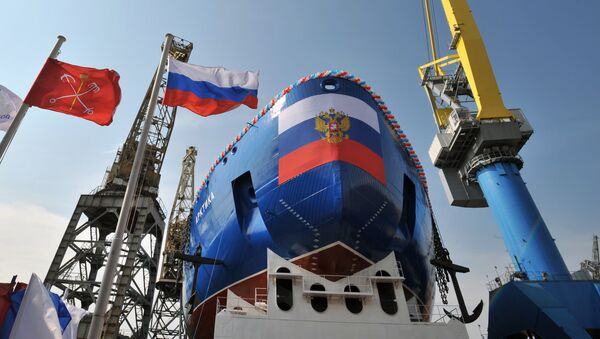 The launching ceremony for the Lead Project Arktika nuclear icebreaker at Baltiysky Zavod Shipyard in St. Petersburg - Sputnik International