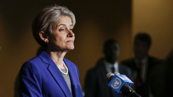 Irina Bokova speaks with reporters on the selection of the next UN Secretary-General at the UN headquarters in New York. file photo - Sputnik International