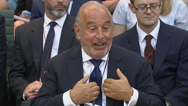 Retailer Philip Green speaks before Parliament's business select committee on the collapse of British Home Stores which he used to own, in London, Britain June 15, 2016. - Sputnik International