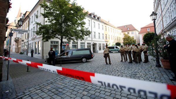 A hearse leaves the area after an explosion in Ansbach near Nuremberg, Germany, July 25, 2016. - Sputnik International
