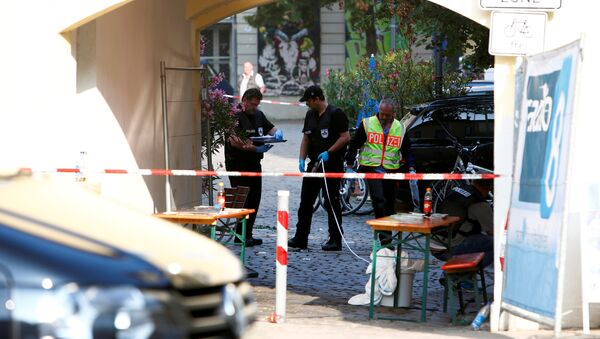 Police secure the area after an explosion in Ansbach, Germany, July 25, 2016. - Sputnik International
