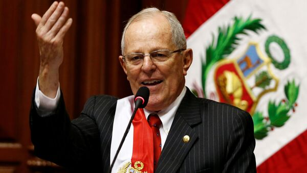Peru's President Pedro Pablo Kuczynski gestures while addressing the audience after receiving the presidential sash during his inauguration ceremony in Lima, Peru, July 28, 2016 - Sputnik International