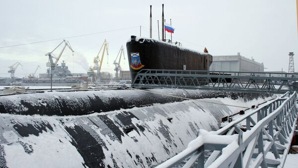 The Yury Dolgoruky nuclear-powered submarine seen during the ceremony of St.Andrew's flag-hoisting in the Sevmash shipyards, Severodvinsk. (File) - Sputnik International