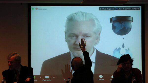 WikiLeaks founder Julian Assange appears on screen via video link during his participation as a guest panelist in an International Seminar on the 60th anniversary of the college of Journalists of Chile in Santiago, Chile, July 12, 2016 - Sputnik International