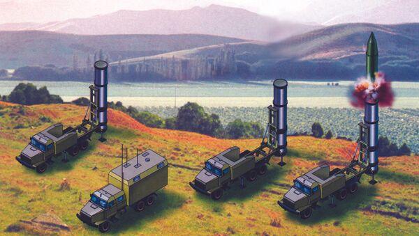 Artist rendering of the components of the Grom-2 short-range ballistic missile system - Sputnik International