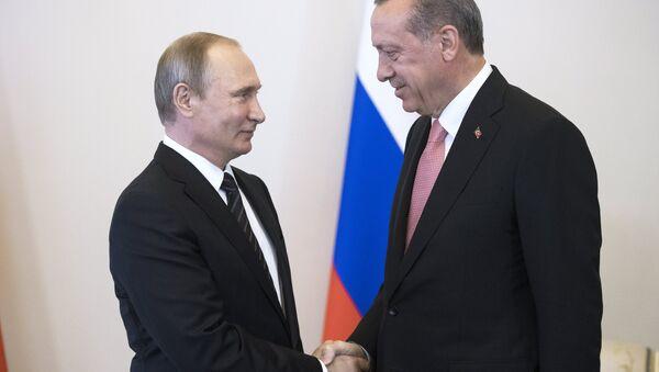 Russian President Vladimir Putin meets with Turkish President Recep Tayyip Erdogan at the Constantine Palace. - Sputnik International