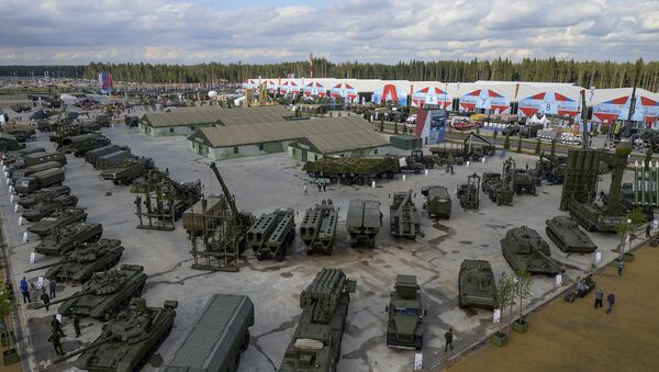 Combat hardware exhibition at the opening of the Army-2015 International Military-Technical Forum at the new congress and exhibition center in Patriot Park in Kubinka in the Moscow suburbs. File photo - Sputnik International