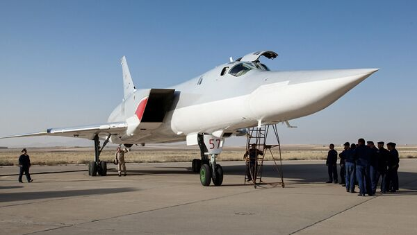 In this photo taken on Monday, Aug. 15, 2016, A Russian Tu-22M3 bomber stands on the tarmac at an air base near Hamedan, Iran. - Sputnik International
