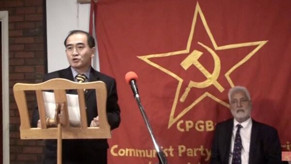 Thae Yong Ho, North Korea's deputy ambassador in London who has, according to media reports, defected with his family, speaks on a podium in London, Britain - Sputnik International