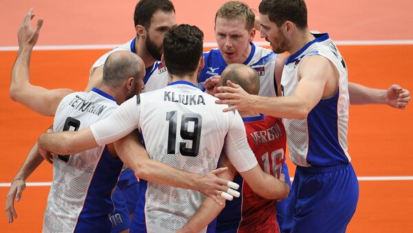 Male volleyball players of the Russian national team made their way to the semi-finals of the Olympic tournament at the 2016 Games in Rio de Janeiro - Sputnik International