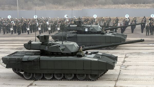 T-14 Armata tank of the Central Military District's Moscow Garrison during a rehearsal for the military parade to mark the 71st anniversary of victory in the Great Patriotic War, at Alabino training field in the Moscow Region - Sputnik International