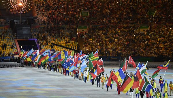 Athletes parade during the closing ceremony of the Rio 2016 Olympic Games at the Maracana stadium in Rio de Janeiro on August 21, 2016. - Sputnik International