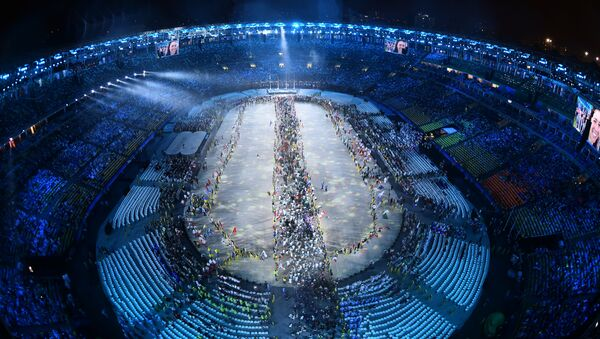This picture shows an overview during the closing ceremony of the Rio 2016 Olympic Games at the Maracana stadium in Rio de Janeiro on August 21, 2016. - Sputnik International