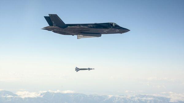 F-35 Lightning Drops a Paveway II Laser Guided Bomb. - Sputnik International