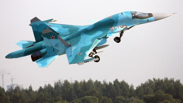 A Su-34 Fullback fighter-bomber at the MAKS-2007 International Aviation and Space Show in Zhukovsky. (File) - Sputnik International