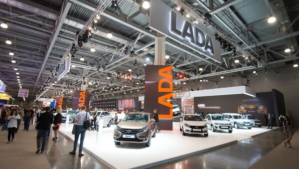 LADA pavilion at the 2016 Moscow International Automobile Salon at Crocus Expo in Moscow. AvtoVaz has significantly expanded its lineup of contemporary car designs in recent years. - Sputnik International