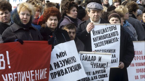 Sales workers at a protest meeting against Russia's robber baron privatization schemes of the early 1990s. - Sputnik International