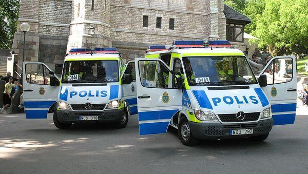 Swedish police vans in Stockholm - Sputnik International