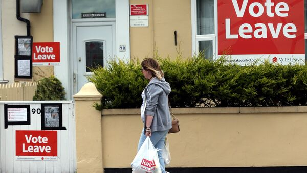 A woman walks past a house where Vote Leave boards are displayed in Redcar, north east England on June 27, 2016. - Sputnik International