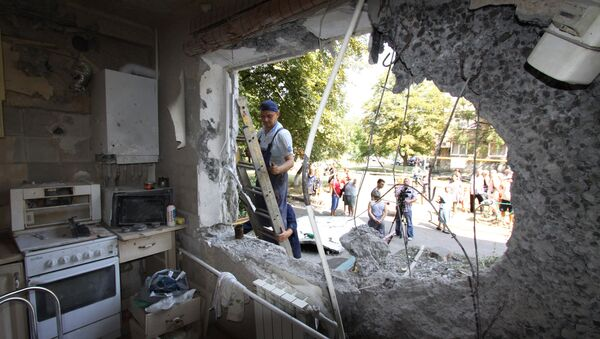 An apartment in a five-storied residential building in Yasinovataya, Donbass, damaged in shelling by Ukrainian army. (File) - Sputnik International